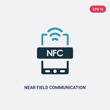 Two Color Near Field Communication Vector Icon From Technology Concept. Isolated Blue Near Field Communication Vector Sign Symbol Can Be Use For Web, Mobile And Logo. Eps 10