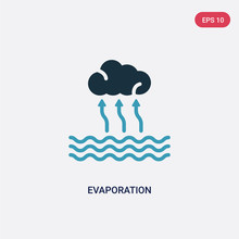 Two Color Evaporation Vector Icon From Technology Concept. Isolated Blue Evaporation Vector Sign Symbol Can Be Use For Web, Mobile And Logo. Eps 10