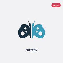 Two Color Buttefly Vector Icon...