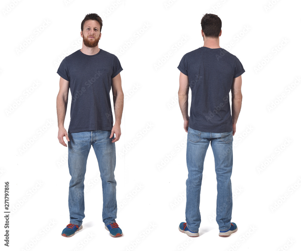 Fototapety, obrazy: portrait of a man of front and back isolated on white