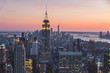 Top view of New york city in sunset time with building of city and river, New york, USA, United states of America