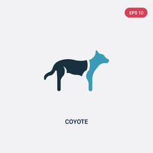 Two Color Coyote Vector Icon From Animals Concept. Isolated Blue Coyote Vector Sign Symbol Can Be Use For Web, Mobile And Logo. Eps 10
