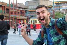 Tourist Taking Selfie In Asia ...