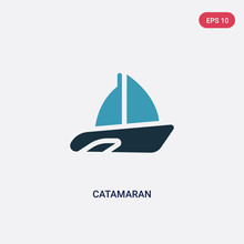 Two Color Catamaran Vector Icon From Transportation Concept. Isolated Blue Catamaran Vector Sign Symbol Can Be Use For Web, Mobile And Logo. Eps 10