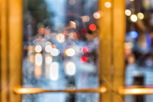 Grand Central Terminal Entrance, Traffic Cars Bokeh, From Lexington Avenue In New York City NYC, Rainy Day Or Evening, Looking Outside Through Door Window Blurred Abstract Background