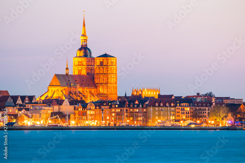 Classic panoramic view of the hanseatic city of Stralsund during blue hour at dusk, Mecklenburg-Vorpommern, Germany