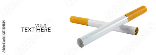 Valokuva  Electronic cigarette with regular one with copy space