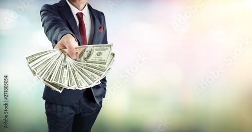 Fotografía  Businessman Give Dollars Cash - Banking Loan