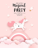 Unicorn Birthday Invitation Template, Welcome baby greeting card, vector paper art