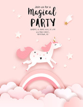 Unicorn Birthday Invitation Te...