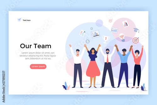 Fotografiet Group of people making high hands, business team concept illustration, perfect f