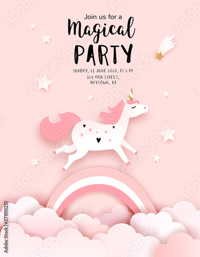 Fototapeta Unicorn Birthday Invitation Template Welcome Baby Greeting Card Vector Paper Art
