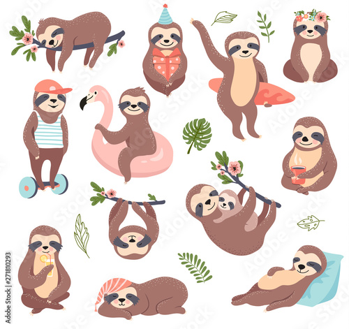 Stampa su Tela  Cute sloth set, funny vector illustration for print, posters, sticker kit