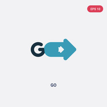Two Color Go Vector Icon From User Interface Concept. Isolated Blue Go Vector Sign Symbol Can Be Use For Web, Mobile And Logo. Eps 10