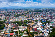 Aerial View Of Border Market At Mae Sai In Thailand And Shan State Of Myanmar.