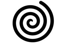Black Spiral Swirl On White