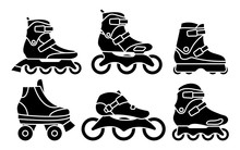 Set Of Inline Roller Skates Icons Isolated On White Background. Silhouette Vector Illustration
