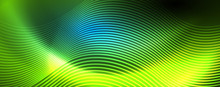 Trendy Neon Blue Abstract Design With Waves And Circles. Neon Light Glowing Effect. Abstract Digital Background.