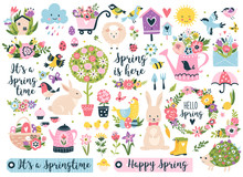 Spring Set, Hand Drawn Elements- Flowers, Birds, Wreaths, Quotes And Other. Perfect For Scrapbooking, Greeting Card, Party Invitation, Poster, Tag, Sticker Kit. Vector Illustration.