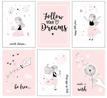 Cute Little Girl With Flower And Quotes,  Posters For Baby Room, Greeting Cards, Kids And Baby T-shirts And Wear, Hand Drawn Nursery Illustration