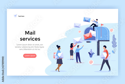 Mail service and correspondence delivery concept illustration, perfect for web d Slika na platnu