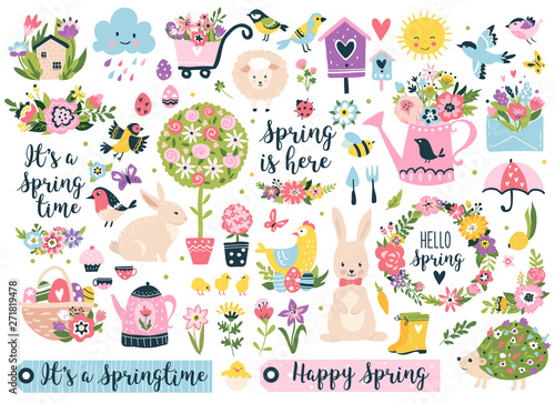 Foto auf Leinwand Texturen Spring set, hand drawn elements- flowers, birds, wreaths, quotes and other. Perfect for scrapbooking, greeting card, party invitation, poster, tag, sticker kit. Vector illustration.