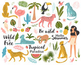 Tropical exotic set with leaf, leopards, parrot, toucan, palm tree and quotes. Wild animals and birds. Summer vector illustration.