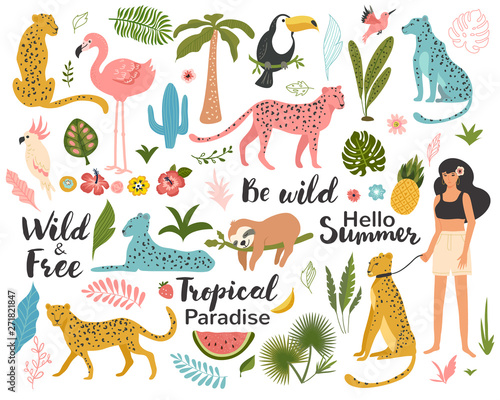 Photo  Tropical exotic set with leaf, leopards, parrot, toucan, palm tree and quotes