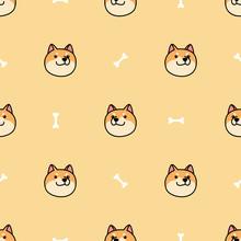 Shiba Inu Dog Face Cartoon Seamless Pattern, Vector Illustration