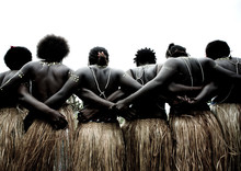 Women From Autonomous Region Of Bougainville In Traditionnal Clothes, Papua New Guinea