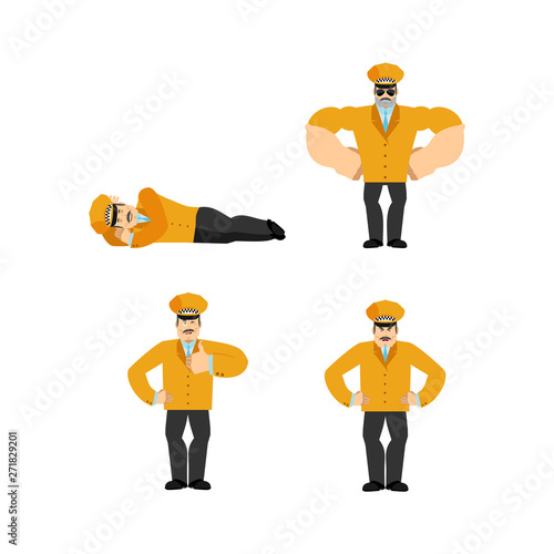 Stampa su Tela Taxi driver set poses