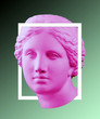 canvas print picture Modern conceptual art poster with green pink colorful antique Venus bust. Contemporary art collage.