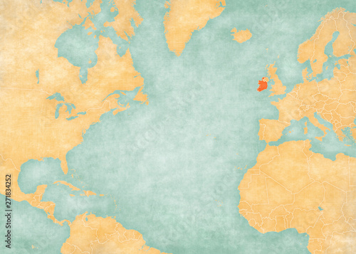 Cuadros en Lienzo Map of North Atlantic Ocean - Ireland
