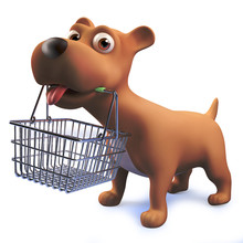 3d Cute Cartoon Puppy Dog Hound Holding A Shopping Basket In Its Mouth