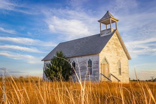 Fotografie, Tablou Hays, KS USA - Abandoned Wooden Church Building