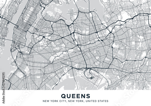 Map Of New York Showing Queens.Queens Map Light Poster With Map Of Queens Borough New York