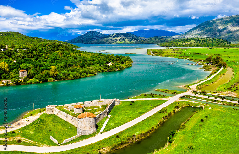 Fototapety, obrazy: Venetian Triangular Castle and the Vivari Channel at Butrint in Albania