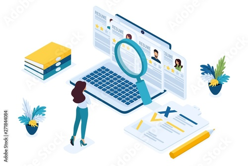 Fotografía  Isometric HR Manager, business recruiting manager reviews the resume options on the site