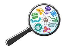 Various Microorganisms Virus Vector Cartoon Bacteria Germ Emoticon Character Set Through Magnifying Glass. Bacterial Ilness Infection Microbiology Illustration. Microbe Organism Emotions Isolated