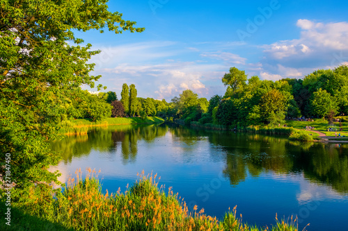 Canvas Prints Blue Warsaw, Poland - Panoramic view of the Szczesliwicki Park - one of the largest public parks in Warsaw - in the western part of the Ochota district