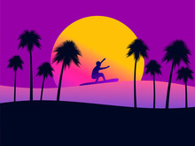 Summer Background With A Surfer And Palm Trees On A Sunset Background. Gradient Yellow And Purple. Vector Illustration