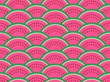 Watermelon Slices Seamless Pattern. Summer Background. Vector Illustration