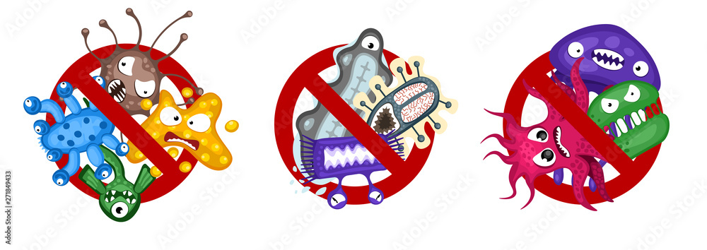 Fototapeta Stop spread virus symbol set. Cartoon germ characters isolated vector illustration on white background. Cute fly bacteria infection character. Microbe viruses and diseases protection