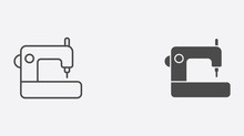 Sewing Machine Vector Icon Sig...