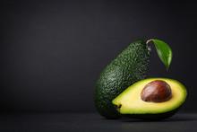 Fresh, Raw Avocado On A Black ...