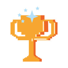 Retro Videogame Trophy Cup Pixelated Cartoon Isolated