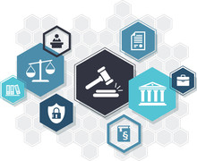 Law Practice / Legal Representation / Justice System – Abstract Icon Concept With Hexagon Shapes. Vector Illustration