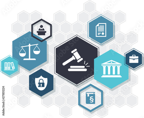 Law practice / legal representation / justice system – abstract icon concept with hexagon shapes Canvas Print