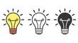 Bulb simple icon set. Vector