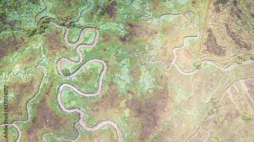 Fotografia aerial view of serpentine marsh
